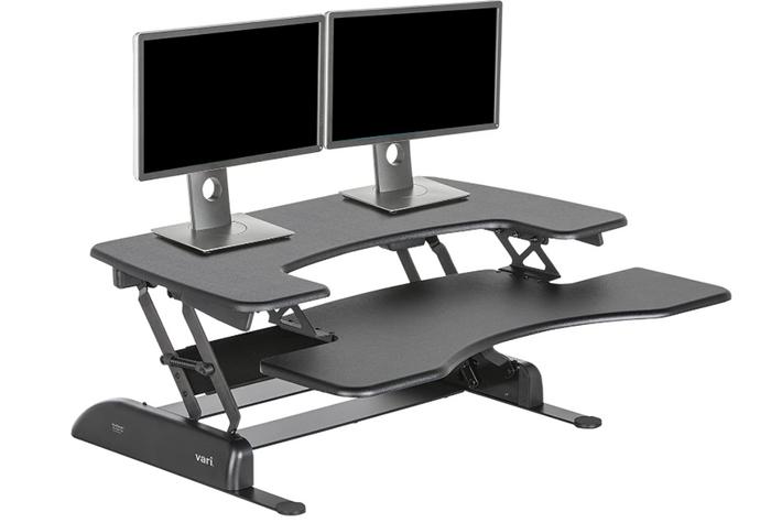 best standing desk, product image of a black desk converter