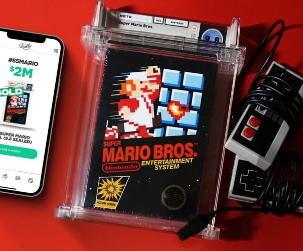 Rally app on a smartphone, sealed copy of Super Mario Bros. on Nintendo Entertainment System, NES controllers with cords wrapped around them.