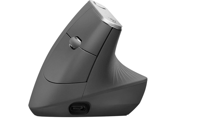 best ergonomic mouse, image of a grey vertical mouse with metal accent
