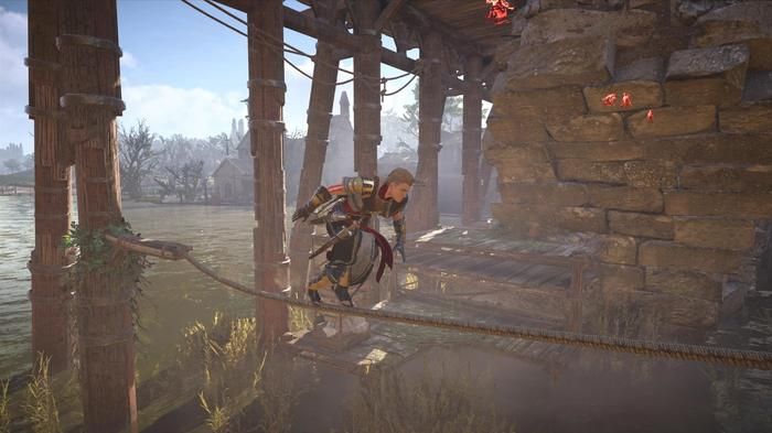 Eivor walks on rope over river in Assassins Creed Valhalla Siege of Paris