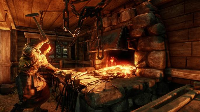 Blacksmith crafting a sword at a forge