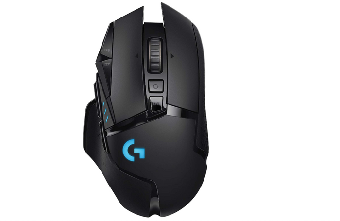 best wireless mouse, image of a black gaming mouse with blue lighting