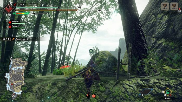 A character in Monster Hunter Rise reaching the peak of a cliff, having climbed it using a wirebug