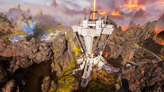 Harvester sends a laser into the centre of a planet, the inverted pyramid is nestled among mountains and cliffs.