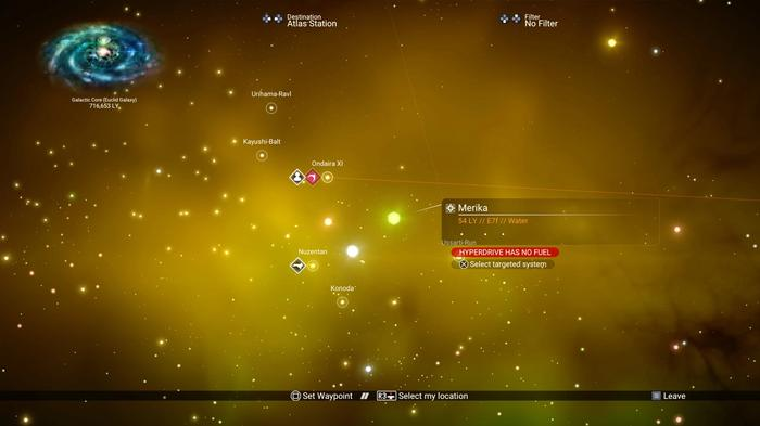 a green star system is highlighted in the Galaxy Map