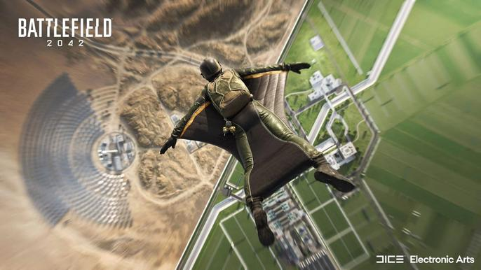 A Battlefield 2042 operator drops from the sky using a wingsuit.