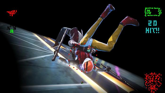Image from No More Heroes 3 showing Travis Touchdown throwing an enemy with a wrestling move.