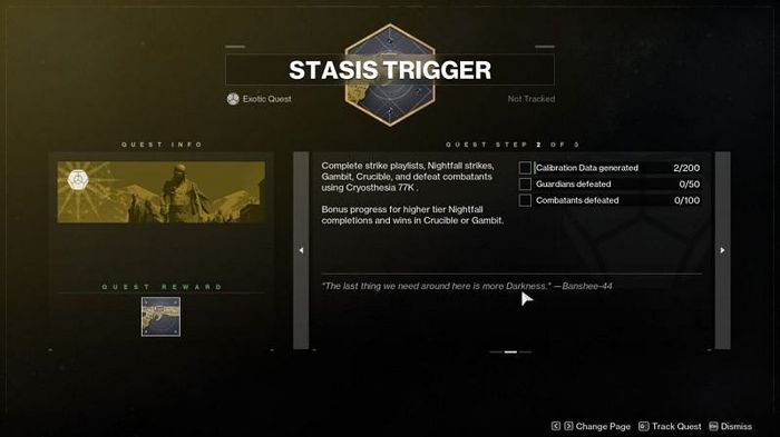 The second part of the Destiny 2 Cryothesia 77k catalyst mission.