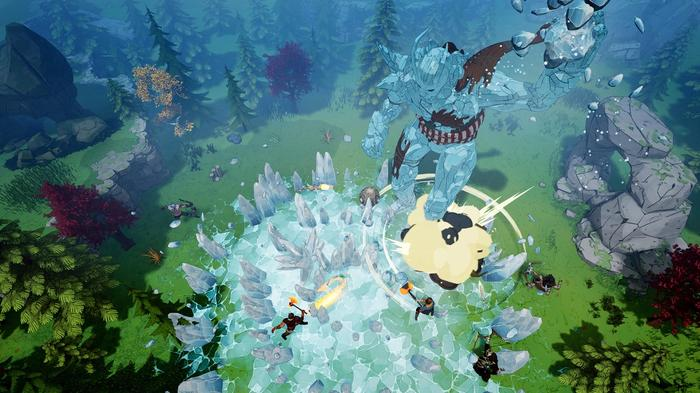 Tribes of Midgard screenshot showing the player fighting a frost giant.