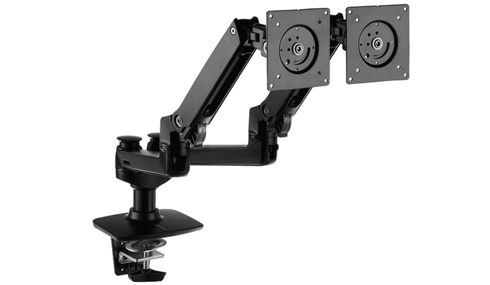 best dual monitor arm, product image of a black dual monitor arm