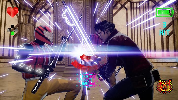Image from No More Heroes 3 showing Travis Touchdown duelling with an enemy