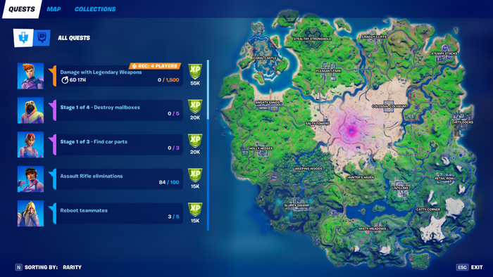 Fortnite quests screen