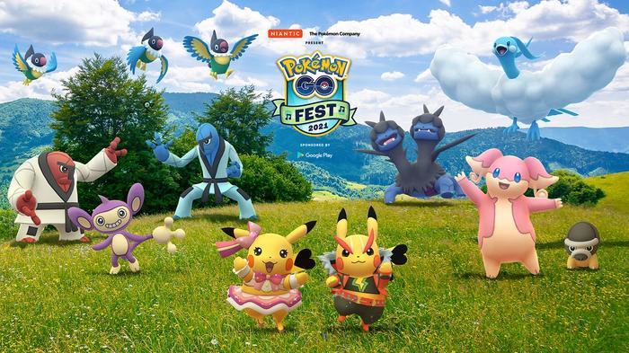 Pokémon celebrating in a field.