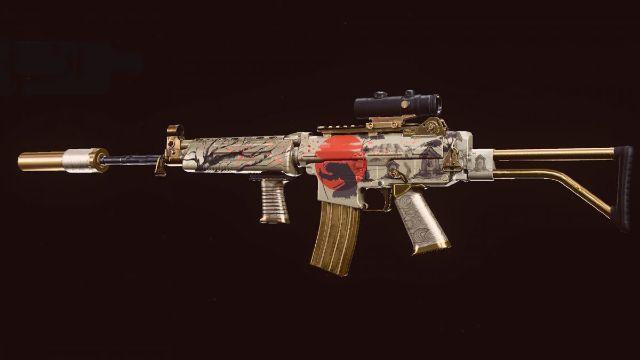 Golden Krig 6 Assault Rifle On Black Background