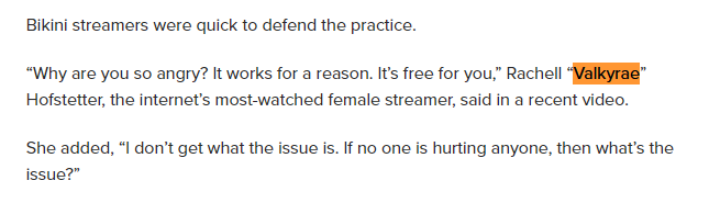 """In this caption is words, they show Valkyrae being quoted directly after """"Bikini streamers were quick to defend the practice."""""""