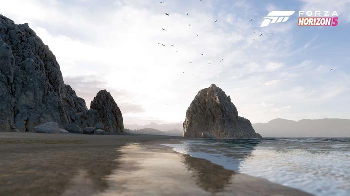 Screenshot showing Forza Horizon 5's Rocky Coast biome