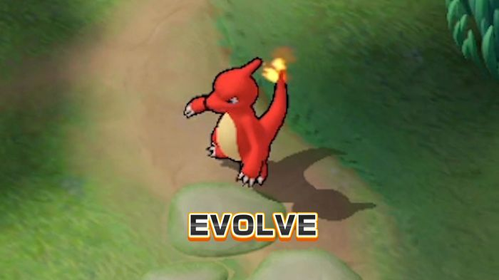 Charmeleon demonstrating the evolve mechanic of the Pokemon Unite game on Nintendo Switch and mobile platforms.