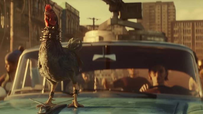 Far Cry 6 rooster Amigo, Chicharron, on top of Dani Rojas' Ride during the Ubisoft Chicharron Run Trailer.