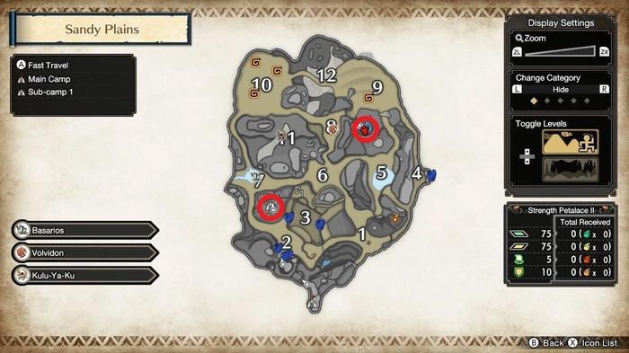 Monster Hunter Rise sub-camp sandy plains locations
