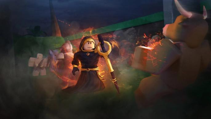 Screenshot from Treasure Quest, showing a hooded wizard battling a monster