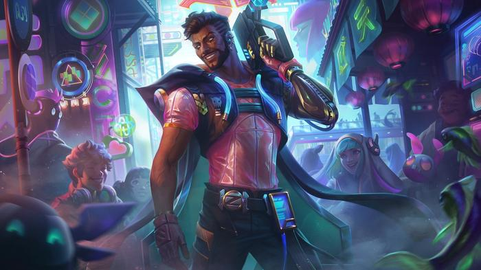 The cyber pop variant of Akshan's appearance in League of Legends