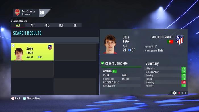 Joao Felix fifa 22 career mode stats