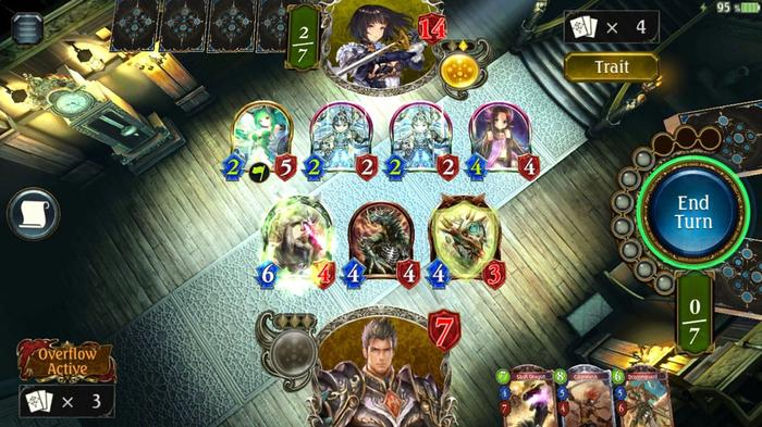 An in-game shot showing a duel between two players in Shadowverse. The player is obviously losing.