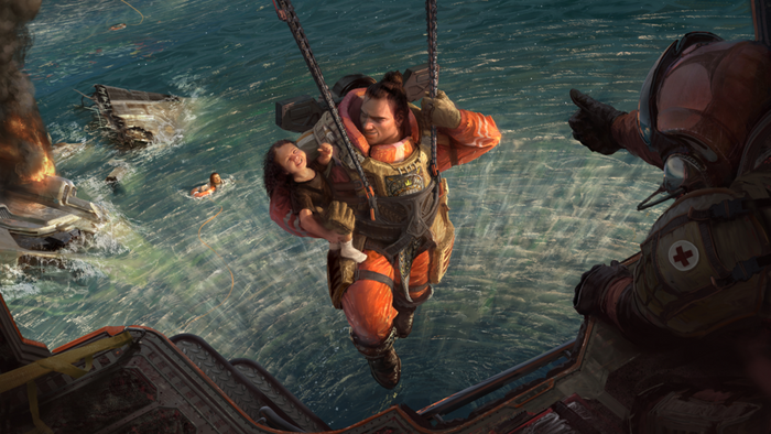 Gibraltar from Apex Legends Mobile airlifts a child to safety.