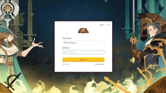 A screenshot of the AFK Arena code redemption site.