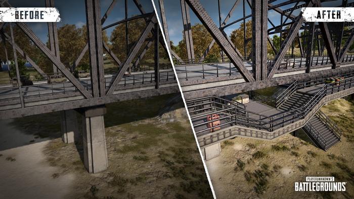 PUBG catwalk additions to Military Island bridges