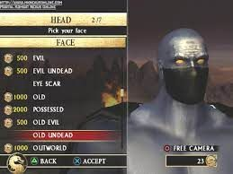 Mortal Kombat character creator. The character being created is fully gray with no hair.