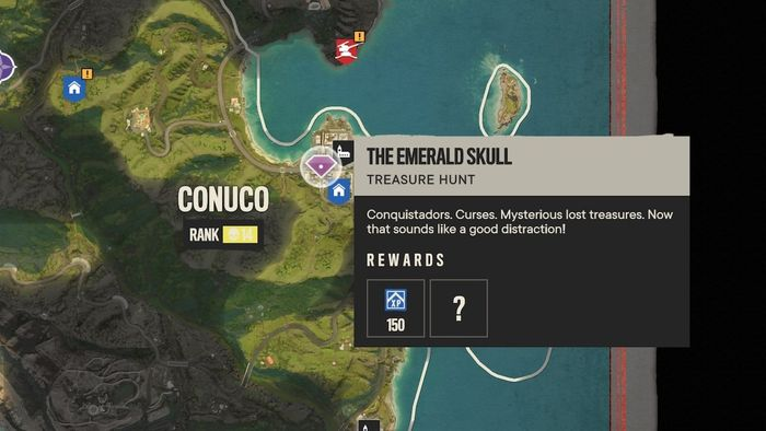 The Far Cry 6 Treasure Hunt, 'The Emerald Skull' shown on the map of Yara.