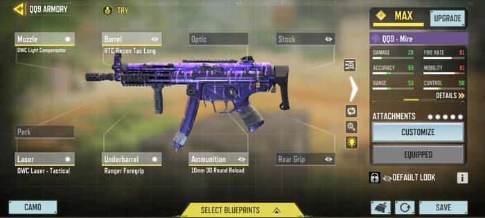 This image features a gunsmith build for the QQ9 in COD: Mobile.