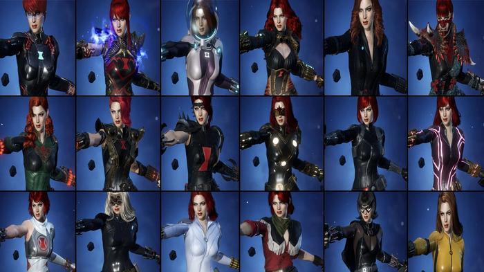 Every Black Widow skin in Marvel Future Revolution.