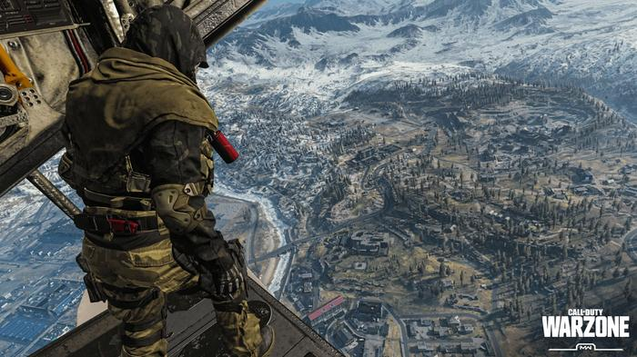 An Operator looks down over Verdansk from the back of a plane in Call of Duty Warzone.
