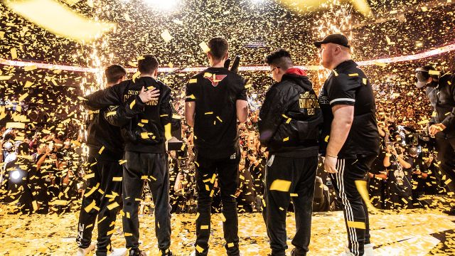 Atlanta FaZe Standing On Stage Covered In Gold Confetti