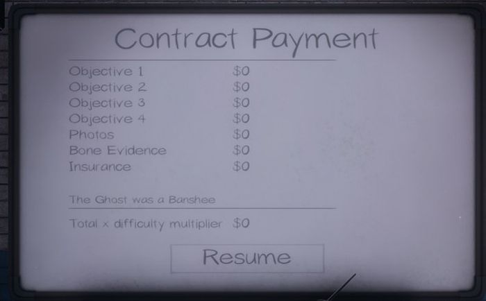 The payment screen for a Phasmophobia contract, including insurance payouts at the bottom.