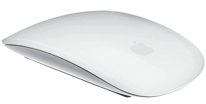 best wireless mouse, image of a white Apple mouse with silver underside