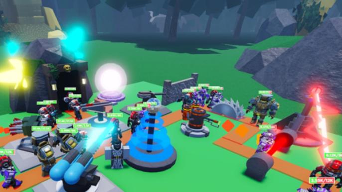 Green field with blocky weapons and lasers fighting
