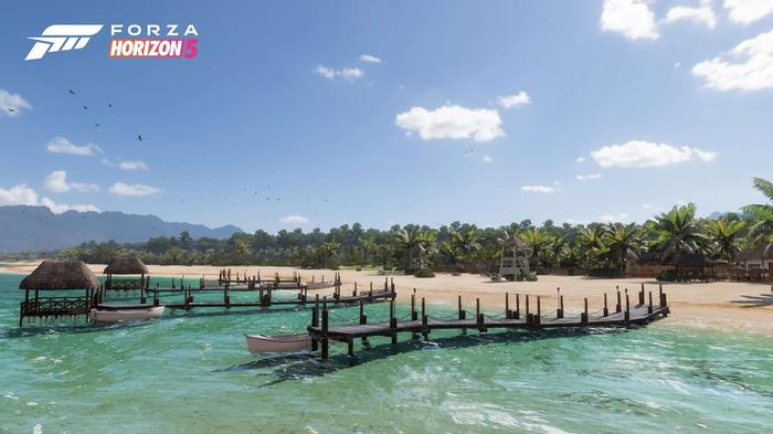Screenshot showing Forza Horizon 5's Tropical Coast biome