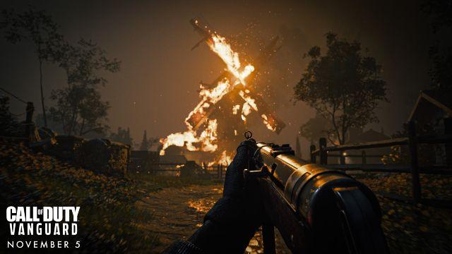 World War 2 Soldier Looking At Burning Windmill