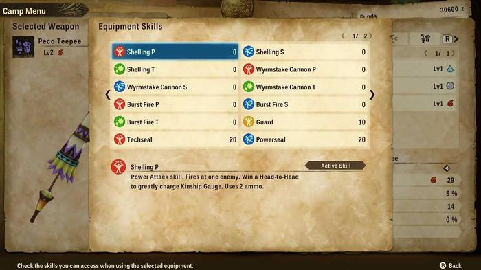 The Skills menu for the Gunlance in Monster Hunter Stories 2, showing available moves and skills