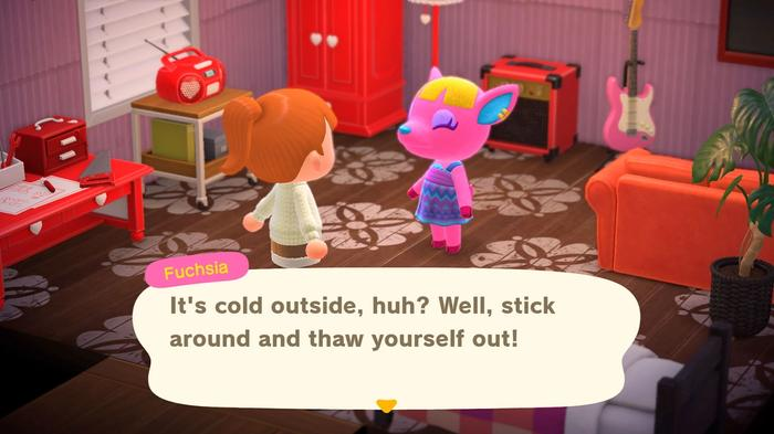 Player talks with villager Fuchsia in Animal Crossing New Horizons
