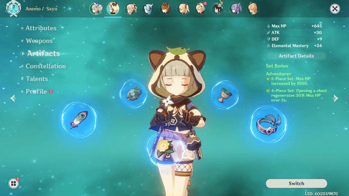 Sayu's Artifact screen