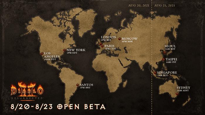 Diablo 2 Resurrected Open Beta Start Times