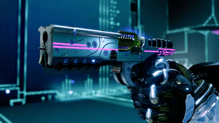 Image of the Destiny 2 exotic sidearm weapon Cryosthesia 77K, being held by a Guardian in a Vex network environment.