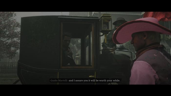 Guido Martelli and the player in a cutscene in Red Dead Online