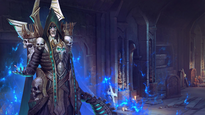 An evil sorcerer dressed in a black robe, with a blue fiery background