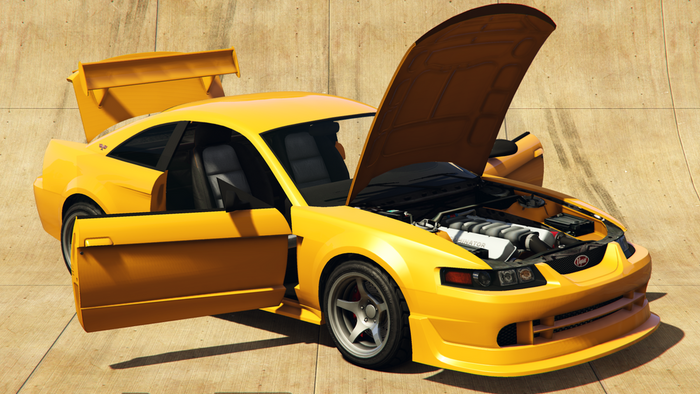 Dominator ASP car from GTA Online with bonnet and car doors open.
