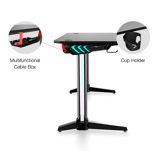Image showing the cable management and cupholder of the AndaSeat Mask 2 desk.